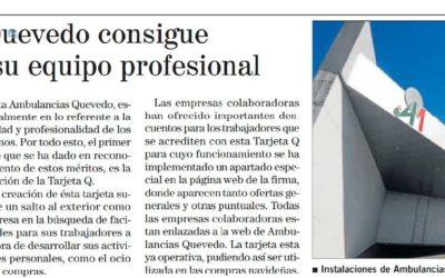 Ambulancias Quevedo consigue ventajas para su equipo profesional
